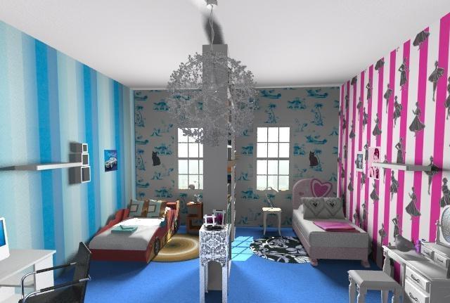Дитяча кімната для двох різностатевих дітей. Організація робочого і спального простору.