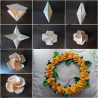 як сделать Троянду орігамі схема