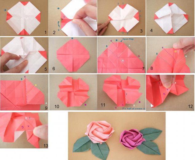 схеми орігамі квіти троянди